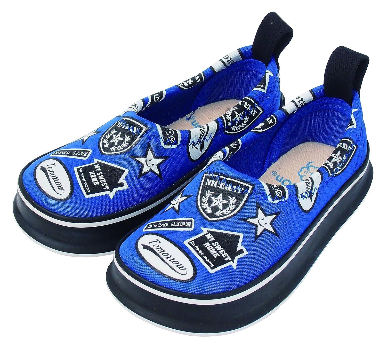[スキッポン] 子ども 靴 ワッペン(ブルー) SKP-0054-17 ベビー (ソール 紺) 17 cm