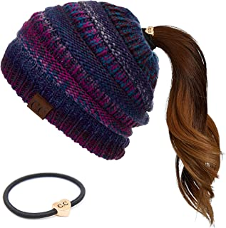 Exclusives Soft Stretch Cable Knit Messy Bun Ponytail Beanie Winter Hat for Women (MB-20A)