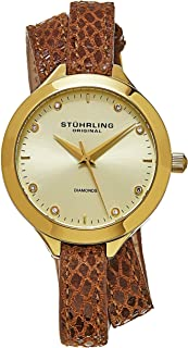 Stuhrling Original Vogue Women'S Beige Dial Double Wrap Leather Band Watch - 624.03, Brown/Gold,