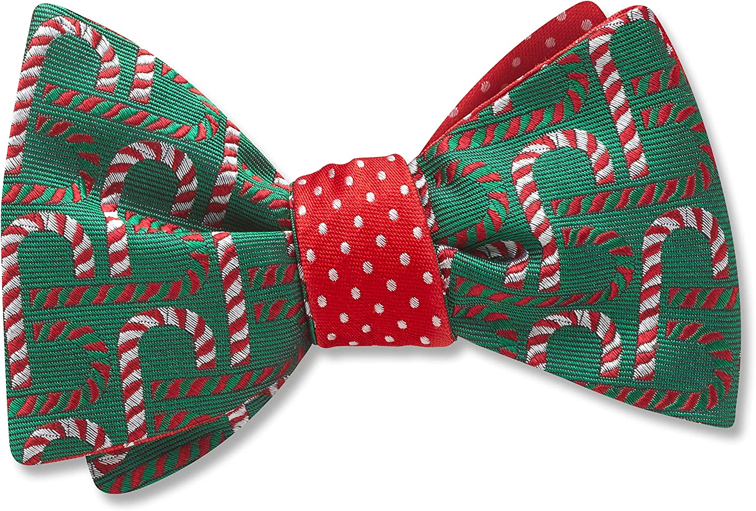 Candia Green,Red Conversational, Men's Bow Tie, Handmade in the USA