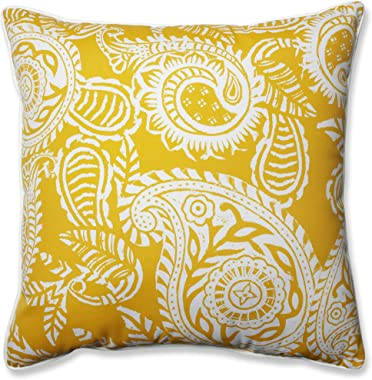 "Pillow Perfect Outdoor/Indoor Addie Egg Yolk Floor Pillow, 25"" x 25"", Yellow"