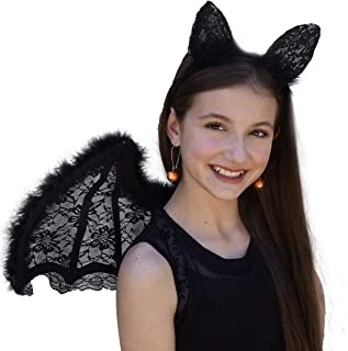 ZUCKER Black Feather and Lace Cat Ears Headband - Cute Halloween, Cosplay, Dress-Up Costume Hair Accessory