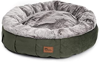 Superior Pet Goods Harley Faux Rabbit Fur and Velvet Dog Bed, Grey/Green, Medium