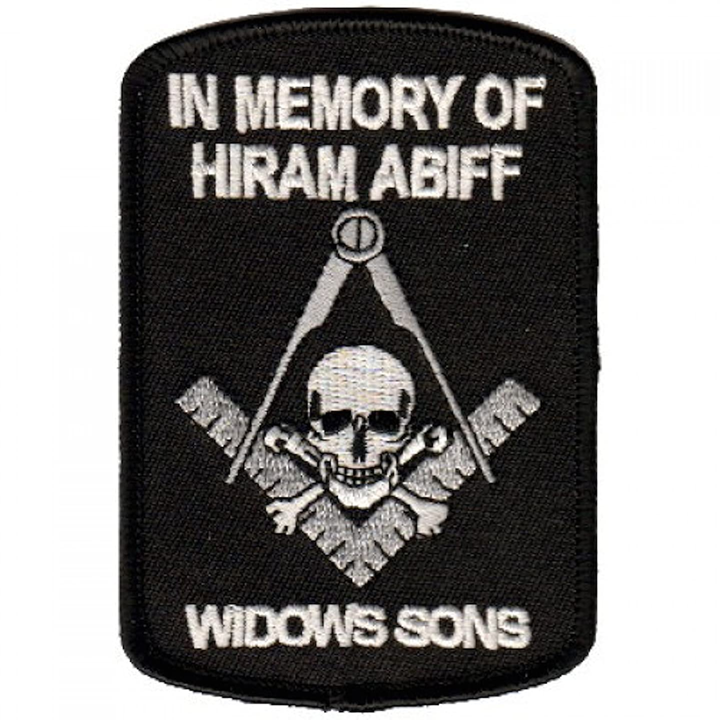 IN MEMORY OF HIRAM ABIFF WIDOWS SONS Masonic Decorative Machine Embroidered Patch Iron-on Appliques Backing