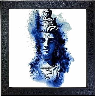 Sehaz Artworks 'Shiv Blue' Wall Photo Painting (Carbon Fiber, 30 cm x 30 cm x 3 cm, Black)