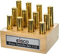 Brass Masses for Density Exploration, Set of 12 Cylinders with Wooden Holder, Varied Lengths and 0.5