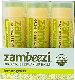 Beeswax Lip Balm by ZAMBEEZI - Lemongrass 3 pack - Crafted with USDA Certified Organic, Fair Trade, lip refreshing ingredi...
