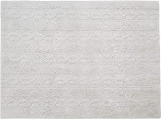 Lorena Canals Tresses Lavable Tapis, Coton, Gris Perle, 120x 160x 30cm