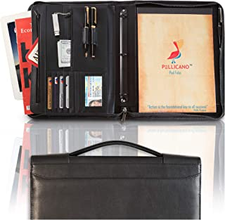 PELLICANO Professional Vegan Leather Portfolio Organizer with Handle – Black Faux Leather Business Padfolio for Men and Women, 3 Ring Binder, iPad Holder, Legal Pad, Black Zipper 13.1 x 11.1 x 1.97 in