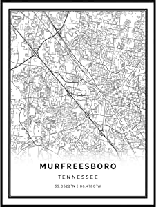 Squareious Murfreesboro map Poster Print | Modern Black and White Wall Art | Scandinavian Home Decor | Tennessee City Prints Artwork | Fine Art Posters 11x14