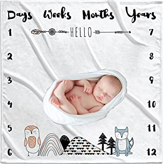 47x47inch Baby Monthly Milestone Blanket for Boys n Girls - Soft Thick Month Blanket For Baby Pictures - Perfect Baby Milestone Blanket - Premium Baby Month Blanket - Unique Baby Photography Props