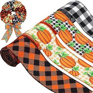 fall ribbon pumpkin ribbon Wired fall ribbon 1.5 pumpkin print wired ribbon