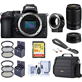 Nikon Z 50 DX-Format Mirrorless Camera with 16-50mm and 50-250mm VR Lens, Essential Bundle with FTZ Mount Adapter, Case, Filter Kits, 64GB SD Card, Wrist Strap, Cleaning Kit