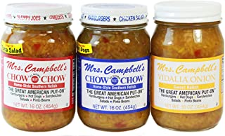 Mrs. Campbell's Chow Chow Relish 3-Pack - One 16 Oz Glass Jar of Each: Hot, Sweet and Vidalia Onion