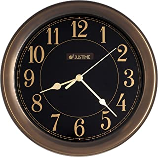 JUSTIME 8.5 inch Simplistic High-end Plastic Decorative Wall Clock, Water Resistant, Special for Small Space, Office, Boats, RV (W86059 Vintage Bronze)