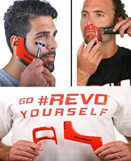 Revo Beard & Goatee Shaping Grooming Kit - Template for Shaving, Trimming and Lineup - Perfect Edge Up Tools -Self Cut Guide Stencil - Men's Styling Kit - Use W/Beard Trimmer or Hair Clippers