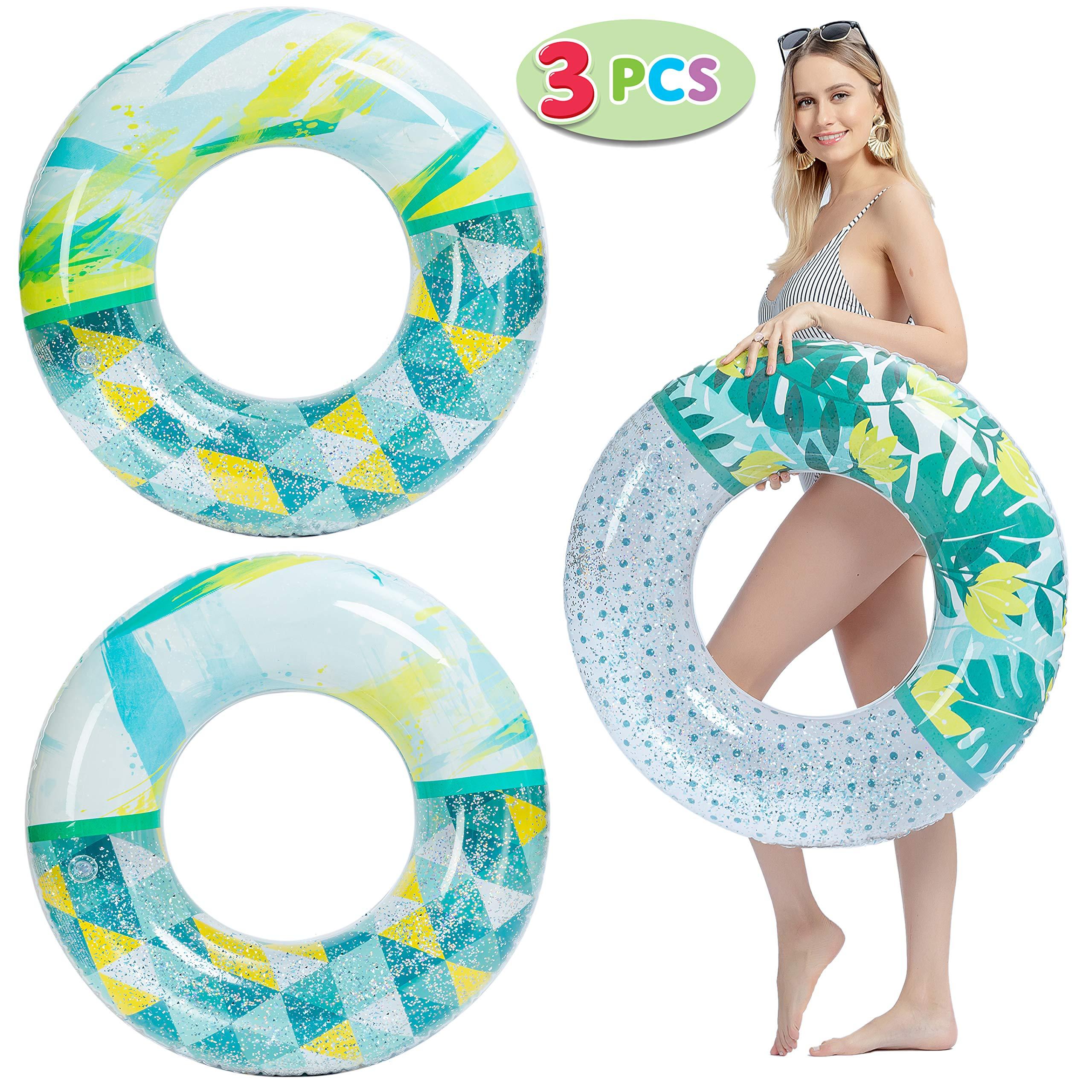 JOYIN 3 Unidades de Tubos inflables de Moda para Piscina, flotadores de Piscina de 32.5 cm, Juguetes con Purpurina para decoración de Fiesta en la Piscina: Amazon.es: Juguetes y juegos