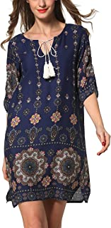 Women's Bohemian Vintage Printed Loose Casual Boho Tunic Dress