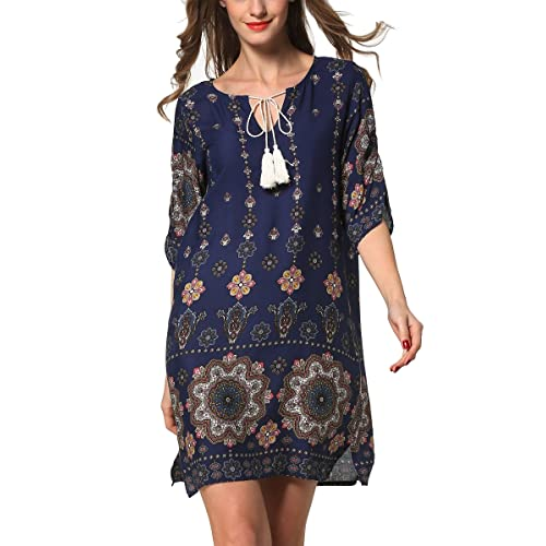 ARANEE Women s Bohemian Vintage Printed Loose Casual Boho Tunic Dress 0b32be98f73a