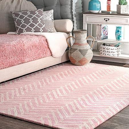 Amazon Com Nuloom Blush Hand Tufted Wool Rug 3 X 5 Pink Furniture Decor