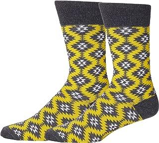 Men's Novelty Yellow Dress Socks, Yellow and Gray Kaleidoscope Design, Casual Yellow Socks for Men