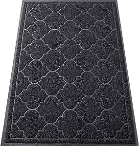 LuxStep Door Mat Large 24x36 Inch Indoor Outdoor Doormat, Non-Slip Low-Profile Design Floor Mat, Durable Trap Dirt and Dust Front Door Welcome Mat for Entryway,Patio,Garage,High Traffic Areas, Black