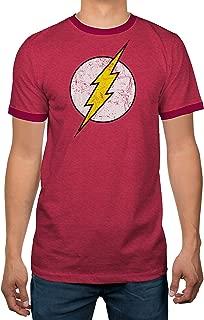 DC Comics Justice League Flash Logo Licensed Ringer Mens T-Shirt