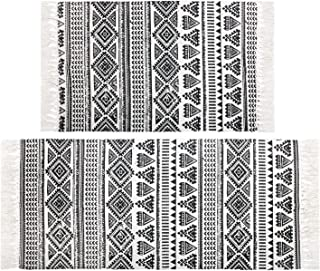Pauwer Cotton Area Rug Set 2 Piece Washable Printed Cotton Rugs with Tassel Hand Woven Fringe Cotton Rug Runner for Kitchen, Living Room, Bedroom, Laundry Room