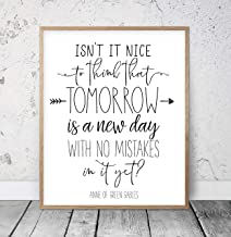 Isn't It Nice To Think That Tomorrow Is A New Day With No Mistakes In It Yet Anne of Green Gables Quote L.M. Montgomery Nursery Printable Wood Pallet Design Sign Plaque with Frame wooden sign