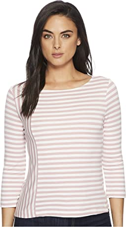 Cape Cod Stripe 3/4 Sleeve Top w/ Zipper Detail