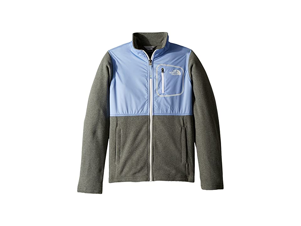 The North Face Kids Glacier Track Jacket (Little Kids/Big Kids) (TNF Medium Grey Heather/Collar Blue/TNF White) Girl