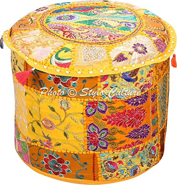 Stylo Culture Indian Pouffe Footstool Cover Round Patchwork Embroidered Pouf Ottoman Cover Yellow Cotton Floral Traditional Furniture Footstool Seat Puff Cover 18x18x13