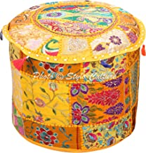 Stylo Culture Indian Pouffe Footstool Cover Round Patchwork Embroidered Pouf Ottoman Cover Yellow Cotton Floral Traditiona...