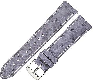 Swiss Watch International 21mm Steel Blue Genuine Ostrich Strap 21OS23C