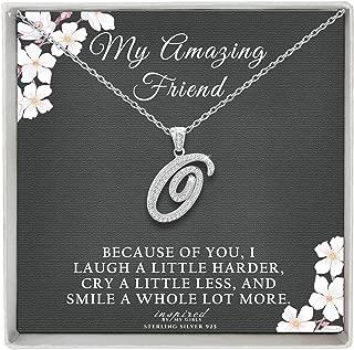 Sterling Silver Initial Necklace CZ Cursive Script Letter Adjustable Chain Friendship Keepsake Card Gift for Her