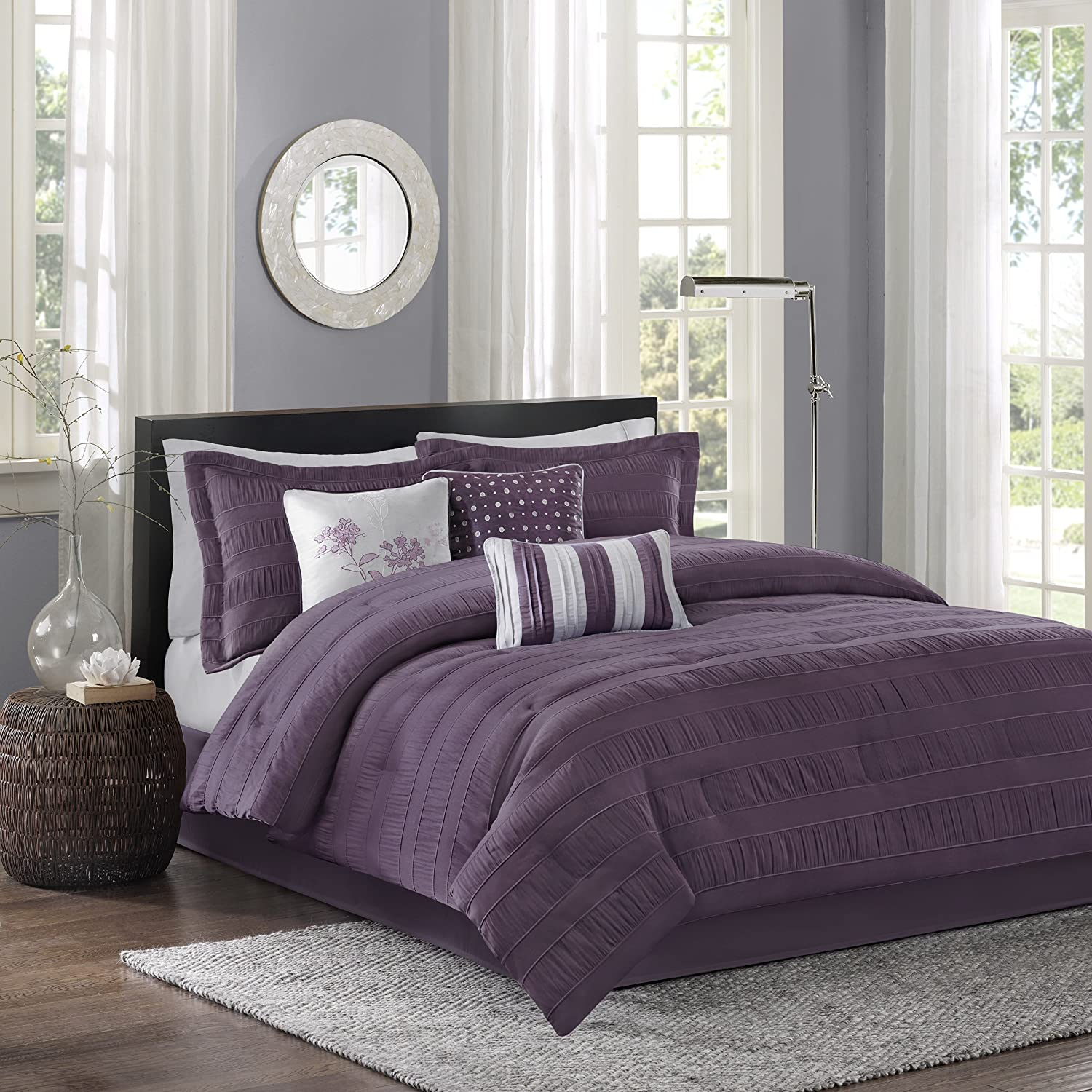 Madison Park Hampton King Size Bed Comforter Set Bed in A Bag - Purple, Jacquard Pleated Stripes – 7 Pieces Bedding Sets – Ultra Soft Microfiber Bedroom Comforters