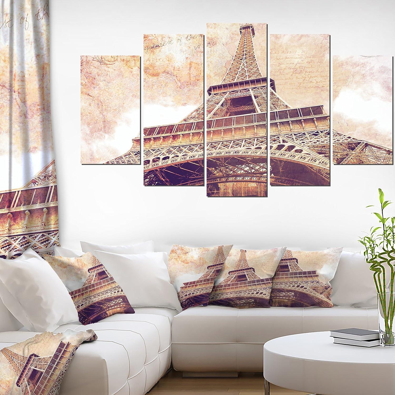 Designart 大特価!! Eiffel Tower Paris Postcard pr Design-Cityscape セール価格 Canvas