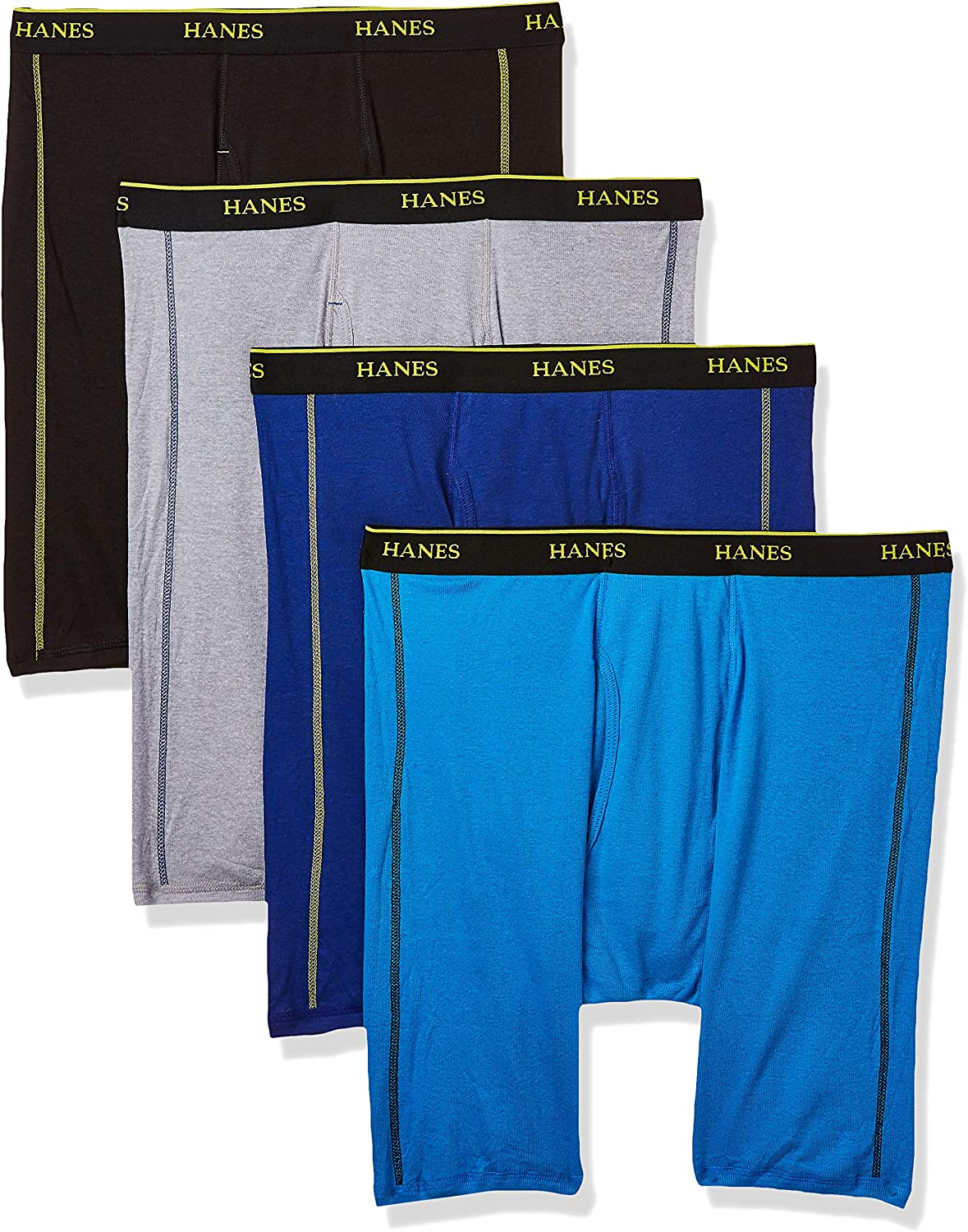Hanes Ultimate Men's Sport Cotton W/Wicking Long Leg Boxer Brief 4-Pack
