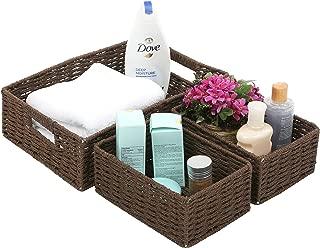 MyGift Small Nesting Paper Rope Woven Storage Baskets, Multipurpose Organizer Bins, Set of 3, Brown