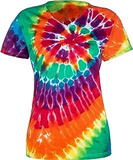 Ladies V Neck Tie Dye T Shirts for Women - 5 Women's Sizes - 6 Color Patterns