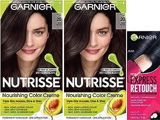 Garnier Nutrisse and Express Retouch Kit, Soft Black Tea, Black, 3 count