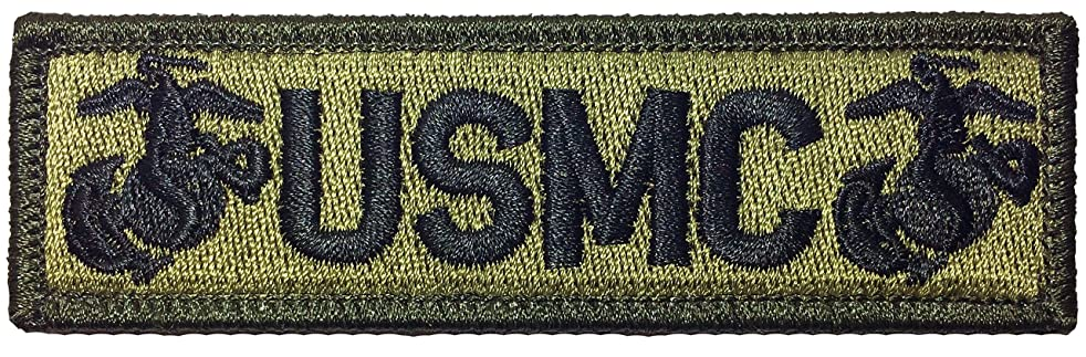 Papapatch Tactical USMC Hook and Loop Touch Fasteners Backing Tab Patch - Olive Drab OD (PS-Hook-TAB-USMC-OD)