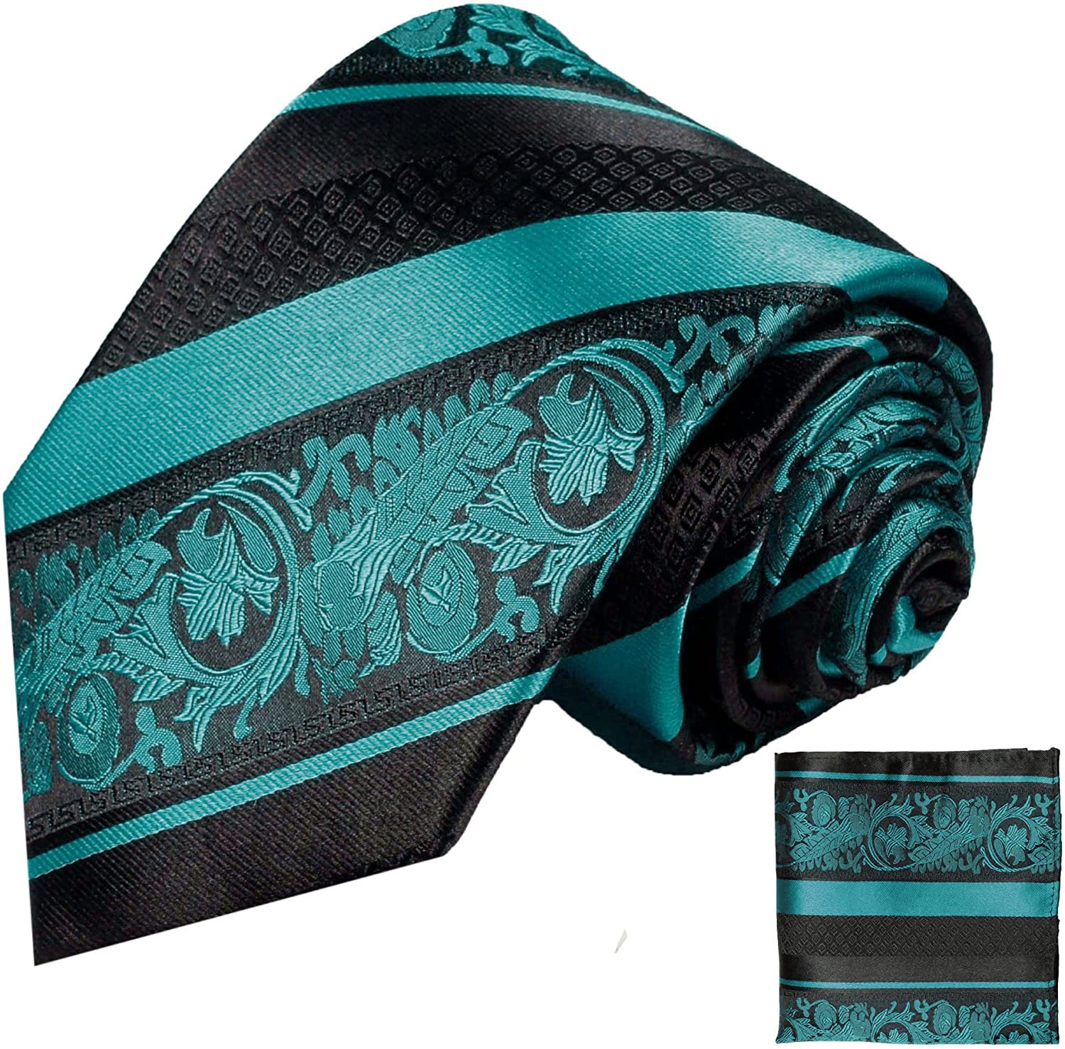 Turquoise and Seattle Mall Black Paul Ranking TOP14 Malone Square Pocket Tie Silk