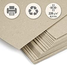 50 hojas papel grueso Cartón reciclado beig kraft claro DIN A4 220 g/m² cm Cartoncillo compacto para imprimir, manualidades, scrapbook, tarjetas de visita.