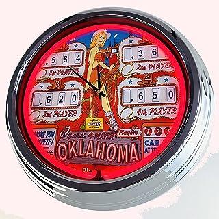 "Reloj de neón Flipper Oklahoma Gottlieb 1961"", reloj decorativo con luz, estilo de los años 50, retro, reloj de neón, para..."