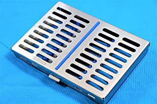 CYNAMED USA German Steel Dental Autoclave Sterilization Cassette Rack Box Tray for 10 Instruments