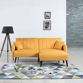 DIVANO ROMA FURNITURE Mid-Century Modern Linen Fabric Futon Sofa Bed, Living Room Sleeper Couch (Yellow)