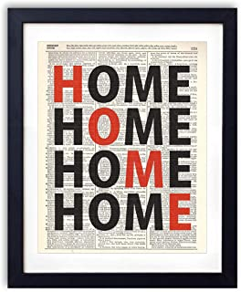 Home Typography Design Upcycled Vintage Dictionary Art Print 8x10