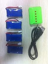 UUMART 4pcs 3.7V 500mAh Upgrade LiPo Battery +5in1 USB Charger For JJRC H37 Hubsan X4 H107L H107C H107D H107P H108,Walkera Super CP, V252, JXD385,UDI U816A,JJRC H6C,Genius CP,Holy Stone F180C