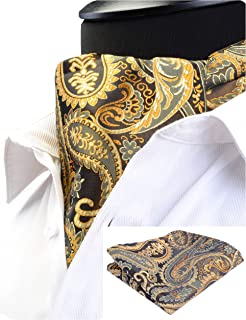 Men's Ascot Paisley Floral Jacquard Woven Gift Cravat Tie and Pocket Square Set